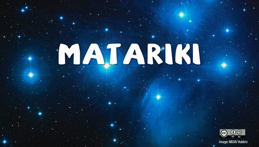 Photo of the Matariki stars taken by the Hubble space telescope overlaid with the words 'Matariki' written in bold white text