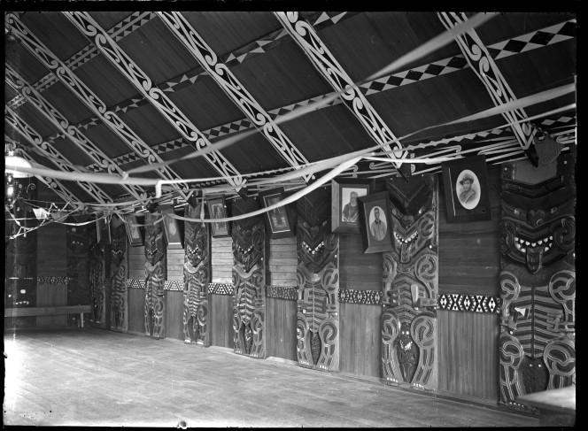 Meeting house interior at Muriwai, Gisborne, showing kowhaiwhai.
