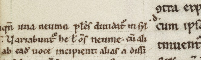 Detail of f.87v, showing missing text added to the margin