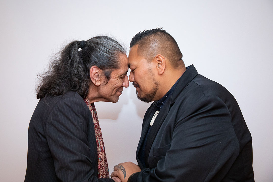 Ben Brown is welcomed as Te Awhi Rito Reading Ambassador by Ruki Tobin.