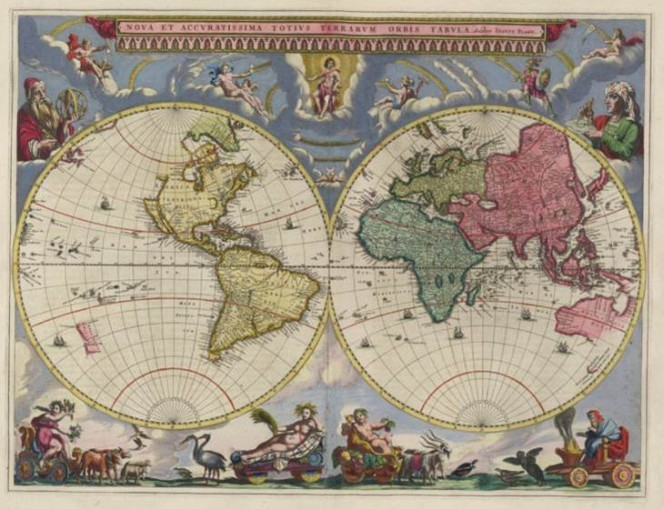 Map of the world from 1665, showing the Eastern and Western hemispheres.