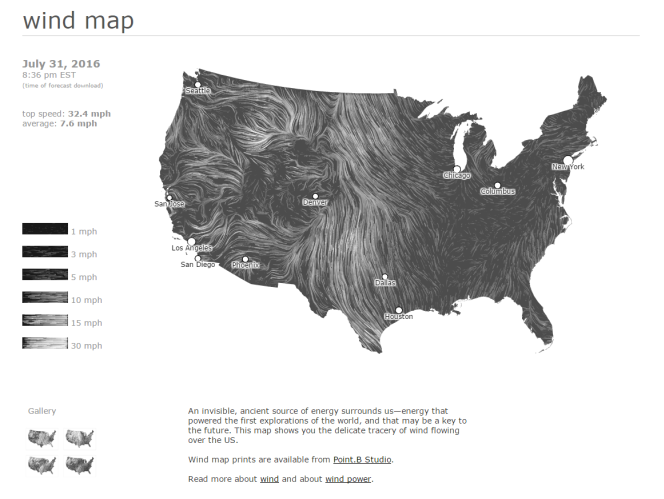 Screenshot showing a current wind map of the USA.