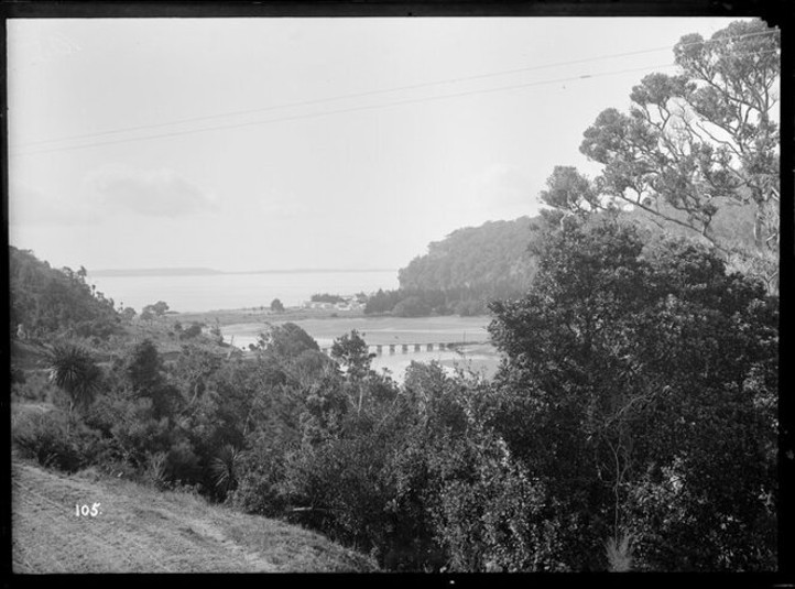 Black and white image of the estuary at Waiwera Beach circa 1890