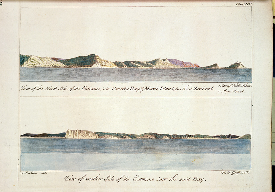 Two watercolour paintings show the cliffs, hills and coastline of Tūranganui a Kiwa as first sighted by Cook and his crew, 1769. Artists' notes read, 'A view of the North Side of the Entrance into Poverty Bay & Morai Island, in NewZealand. 1. Young Nick's Head. 2. Morai Island.' and 'View of another Side of the Entrance into the said Bay.'.  [Turanganui a Kiwa](/files/schools/hm44-turanganui-a-kiwa-english.mp3)