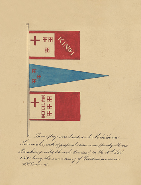 The flags of the Kīngitanga, 1862. This coloured sketch shows three flags:   - a rectangular red and white flag with four crosses and the word KĪNGI - a blue triangular flag with three red boxed crosses, and - a second rectangular red and white flag with four crosses and the words NIU TIRENI.   Alongside the sketch is the note, 'These flags were hoisted at Mataitawa, Taranaki, with appropriate ceremonies (partly Māori Karakia, partly Church Service) on the 10th September 1862, being the anniversary of Potatau's succession.'.  [Kingitanga flags](/files/schools/hm28-kingitanga-flag-english.mp3)