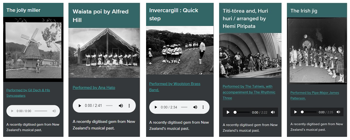 Shows five tiles with different songs, each with an image and audio player widget.