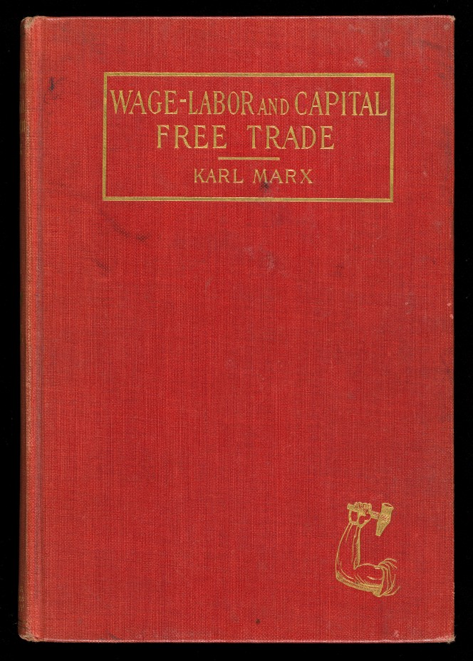 Cover of Karl Marx's Wage-labour and Capital, with an inlaid illustration of a muscled arm holding a hammer.
