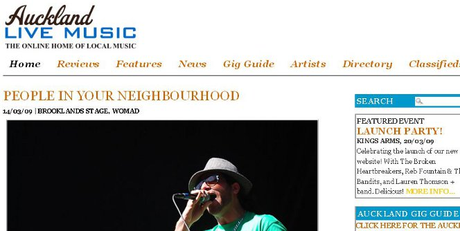 Screenshot of the homepage of Auckland Live Music.