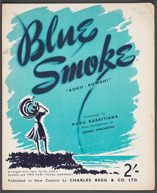 A poster for the first commercial record made in Aotearoa NewZealand, 'Blue Smoke'. Composed by Ruru Karaitiana, 'Blue Smoke' was released in 1947. The tri-colour poster shows a woman standing on a cliff looking out to sea with the onshore breeze blowing her scarf and skirt. 'Blue Smoke Kohu — Auwahi' is written in the blue smoke.  [Blue smoke](/files/schools/hm50-blue-smoke-english.mp3)