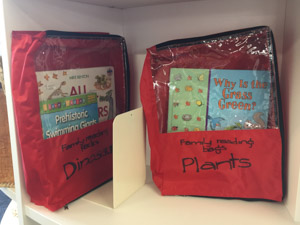 Reading bags in Bailey Rd school library