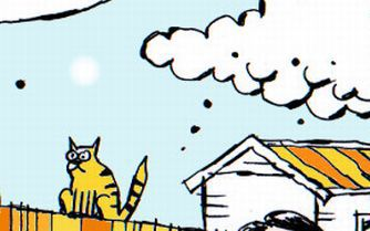 Shows an illustration of a cat sitting on a fence.