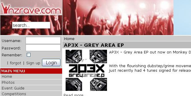 Screenshot of the homepage of NZRave.