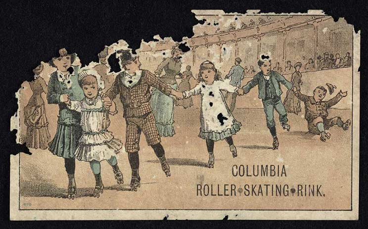 Paper ticket showing group of children skating at the indoor rink on roller skates. There is damage to the upper left corner of the paper ticket.