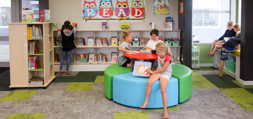 Children using the library.
