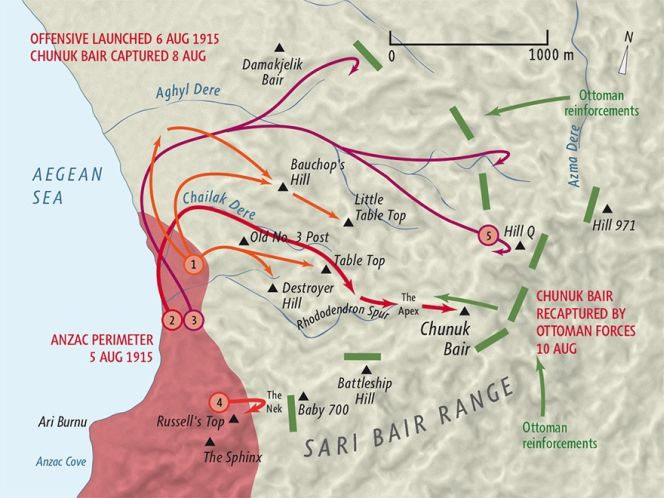 Sari Bair offensive, August 1915 map by Geographx with research assistance from Damien Fenton and Caroline Lord.