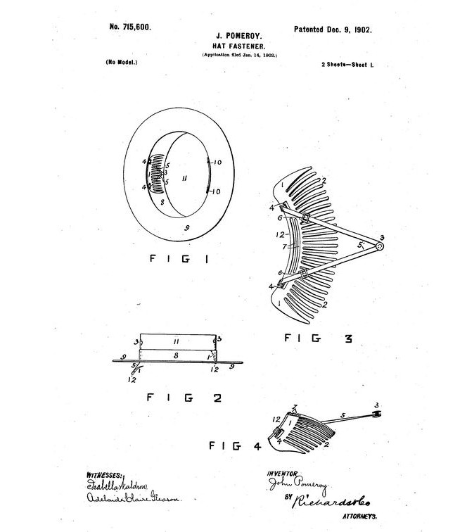 Diagram for Pomeroy's hat fastener, part of his patent application.