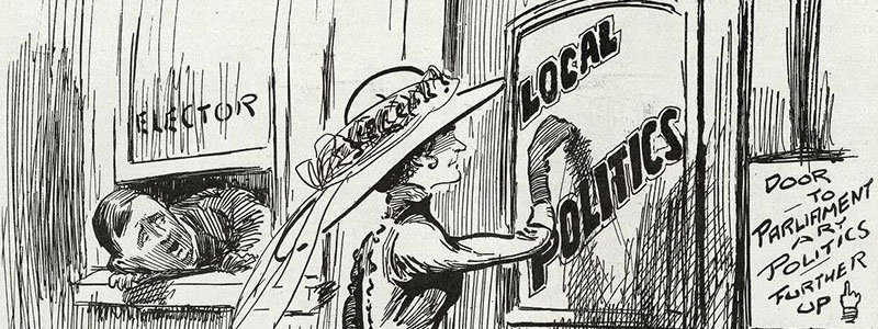 Cartoon showing a woman politician knocking at the door of local politics.