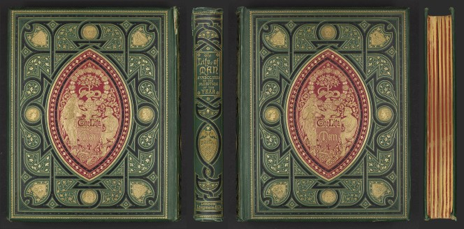 Covers and spine of an 1866 book, 'The life of man'.