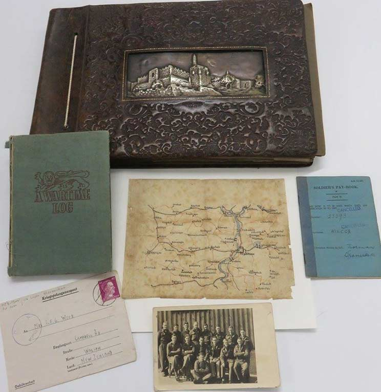 Selection of books, letter, photo and papers from the Wilcox family collection.