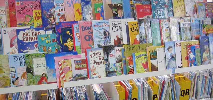 A collection of bright picture books.