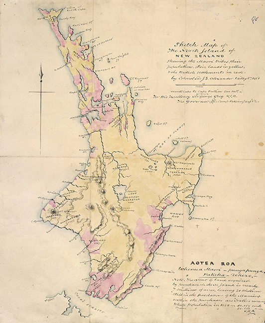 A map showing Māori tribal areas and land ownership in the North Island, 1861. Māori land is shown in yellow and British settlements in red. Most land is still in Māori ownership.  [Map of Te Ika a Māui](/files/schools/hm90-map-of-ika-a-maui-english.mp3)