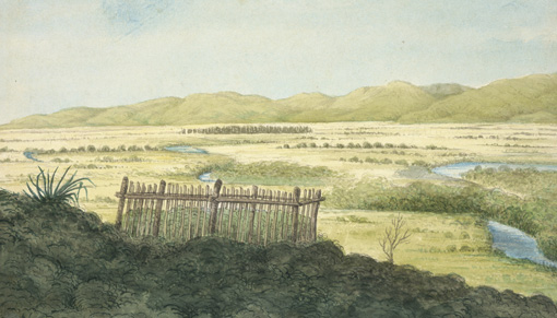 Watercolour of view looking west over the Wairau Plain with the Tuamarina Stream winding across it. In the foreground is a fenced grave