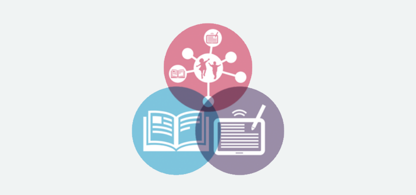 3 overlapping icons representing reading engagement, school libraries, and digital literacy
