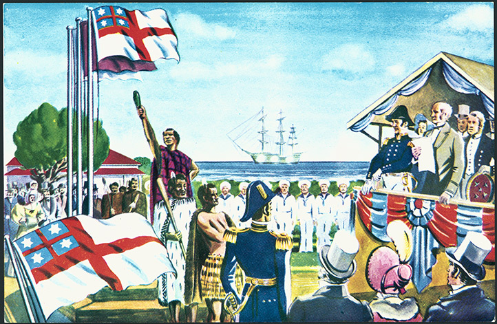 Shaw Savill Line postcard depicting the United Tribes Ensign