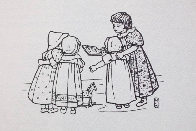 Lineart of children with a hornbook.