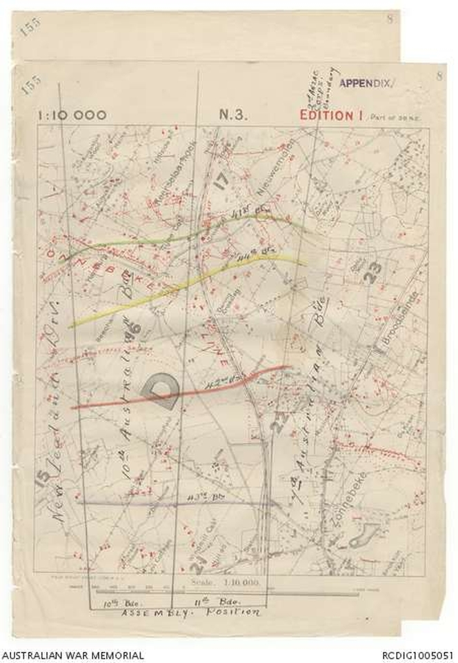 Page 9. Map showing Hill 40 on the left and the 42nd's Red Line objective.