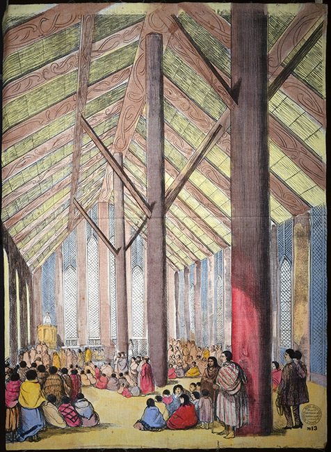 View inside Rangiātea Church, Ōtaki, painted by Charles Barraud, circa 1851. There are no pews in the church and small groups of Māori sit and stand, while a sermon is delivered from the pulpit. Rangiātea has a high ceiling supported by tall posts, a ridgepole and rafters patterned in kōwhaiwhai.  [Rangiātea Church, Otaki](/files/schools/hm02-rangiatea-church-english.mp3)