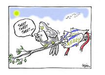 Bird on a branch with a phone, speech bubble says 'Tweet, tweet, tweet'.