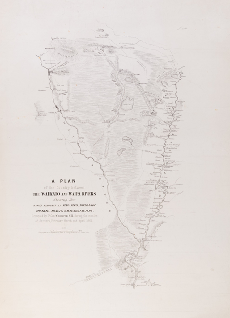 A faded map showing the Waikato area that reads: A plan of the country between the Waikato and Waipa rivers...