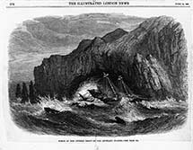 A drawing of a ship and sailors being buffeted and blown over in a sea storm.