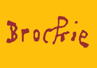 The word 'Brockie' in red text on a yellow background.