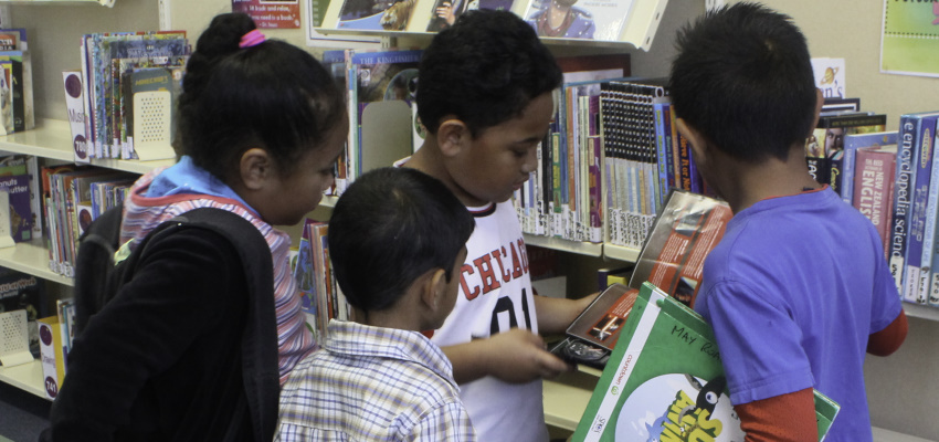 Four primary students browsing books on their library shelves.