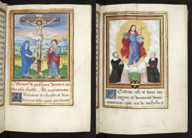 Side by side images of separate pages: Miniatures of the Crucifixion and depiction of Etienne Sale and his wife at prayer before a vision of the risen Christ from a Book of Hours, France (Besanҫon).