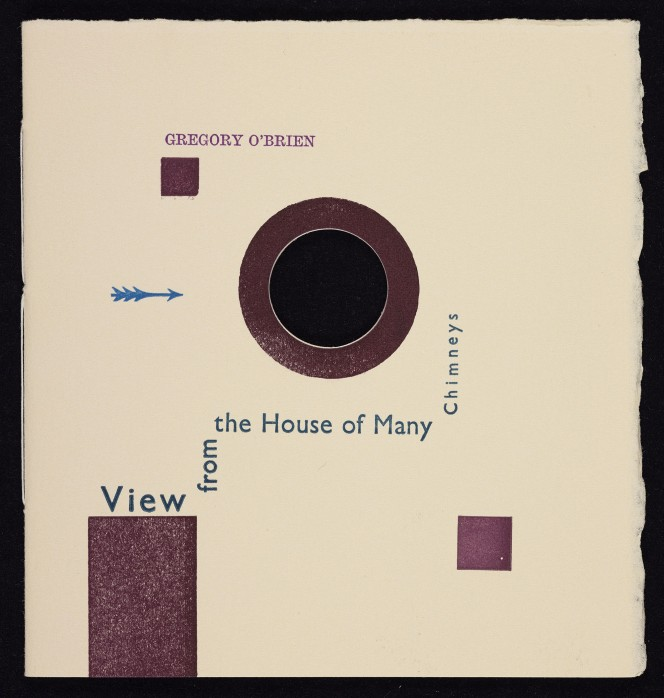 Cover of Gregory O'Brien's View from the House of Many Chimneys, with a ragged-edged abstract design.