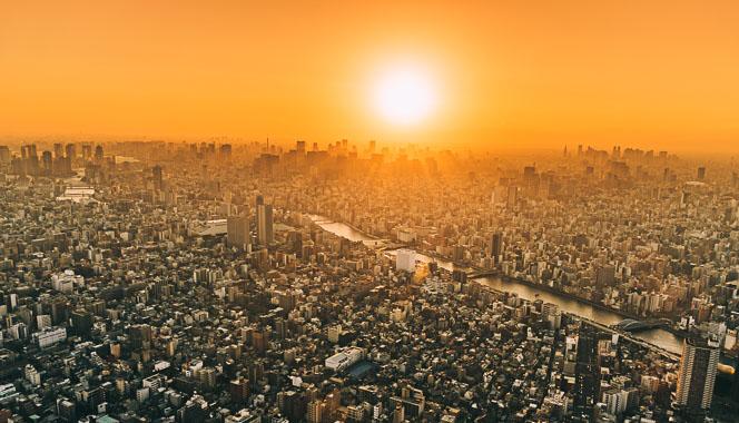 Sunset over Tokyo city.