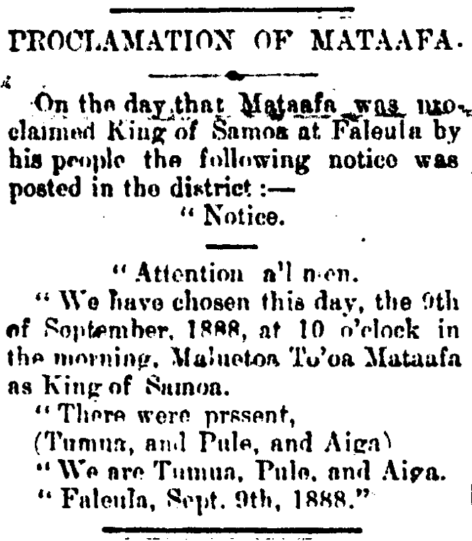 Article with the headline that reads 'Proclamation of Mataafa. It is about the day that Mataafa was proclaimed King of Samoa at Faleula by his people.