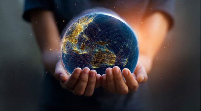 Two hands holding a world.