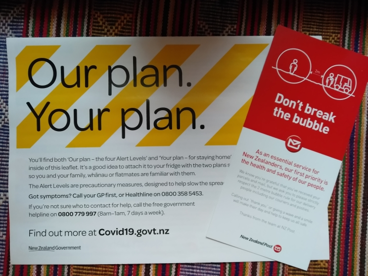 Various flyers from New Zealand Post and New Zealand Government.