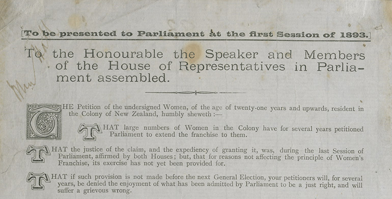 Detail of the Women's Suffrage Petition, showing signatures.