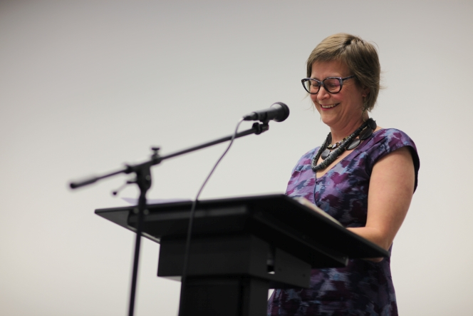 Kate Hunter launching Good-bye Maoriland at the National Library.