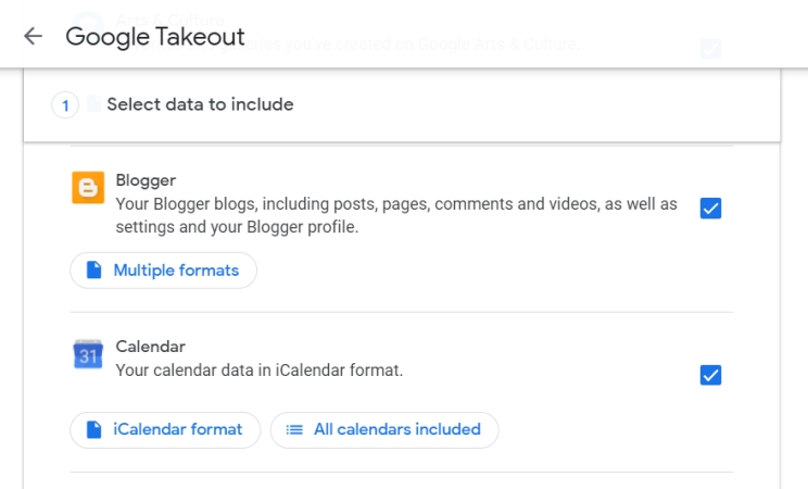 The Google Takeout interface showing Blogger and Calendar data selected.
