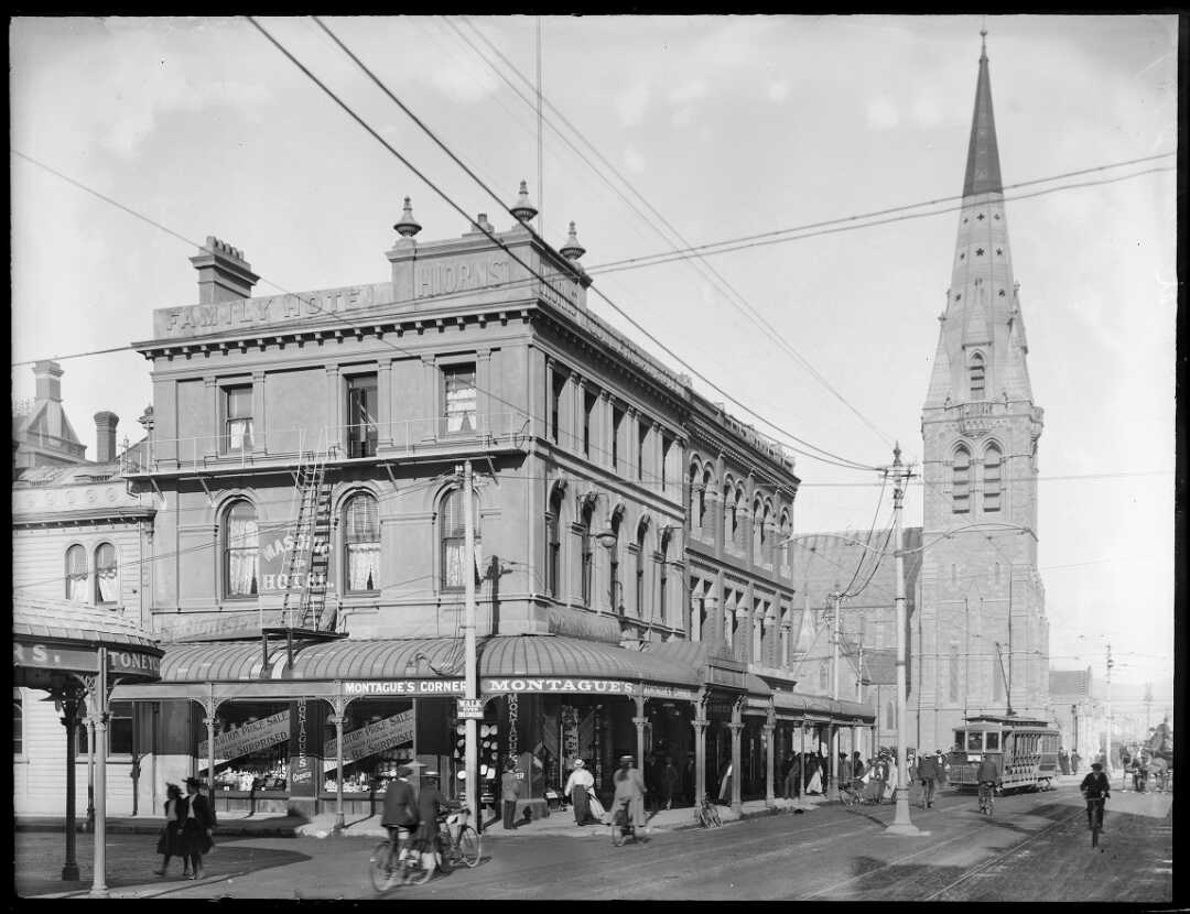 Montague's Corner, Colombo and Gloucester Streets, ca 1880s-1920s.