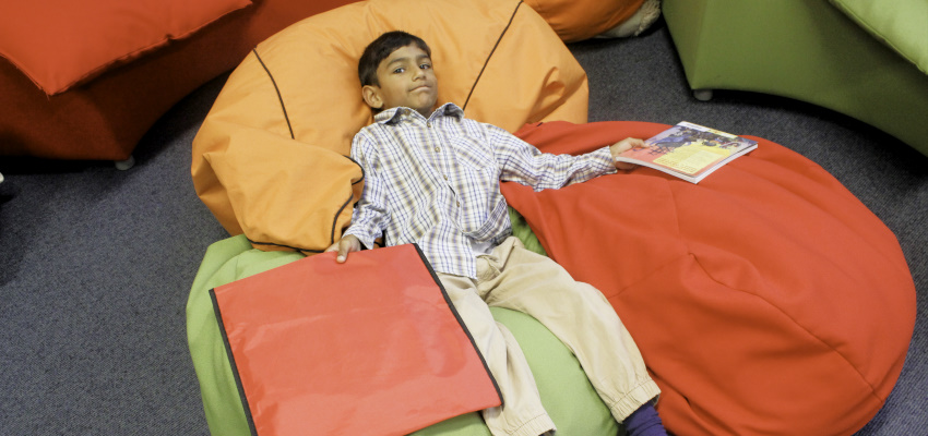 Boy on beanbags