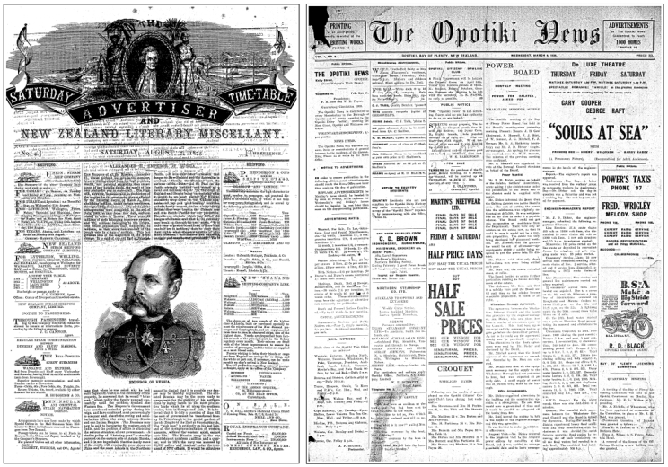 Side by side images of two black & white front pages of newspapers, the Saturday Advertiser and The Opotiki News.