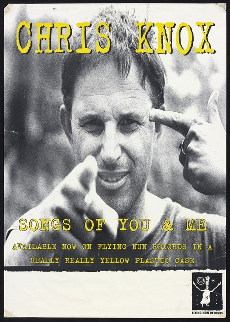 Black and white poster for Chris Knox's 'Songs of You and Me' featuring the musician pointing at the camera with one hand and pointing at his head with the other.