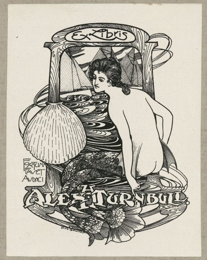 A bookplate in art nouveau style, showing a mermaid seen from the back, with an ornate double tail. Behind her, three yachts sail on a swirling ocean. There is a clam shell at centre left.